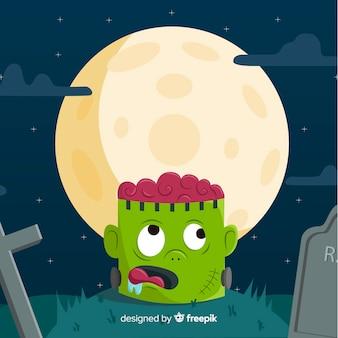 Feliz dia das bruxas fundo com cabeça de zumbi no cemitério
