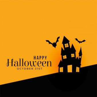 Feliz dia das bruxas fundo com casa assombrada