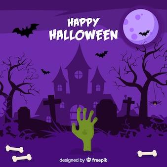 Feliz dia das bruxas, fundo, com, casa assombrada