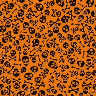 Feliz dia das bruxas fundo com caveira e ossos. padrão de halloween sem emenda.