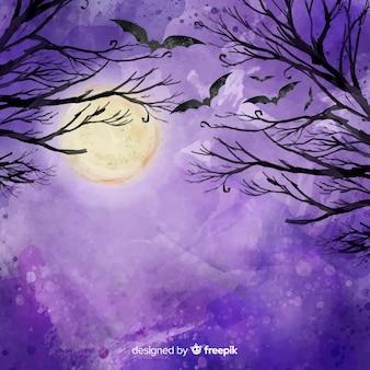 Feliz dia das bruxas fundo com galhos e morcegos