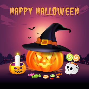 Feliz dia das bruxas fundo com jack o lantern no chapéu de bruxa e doces de halloween. ilustração para cartão, folheto, banner e cartaz de feliz dia das bruxas
