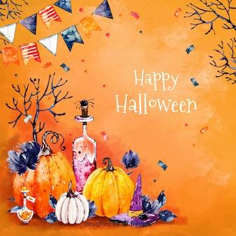 Feliz dia das bruxas fundo em laranja