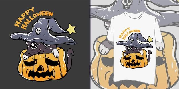 Feliz dia das bruxas. gato fofo em ilustração de abóbora para camiseta