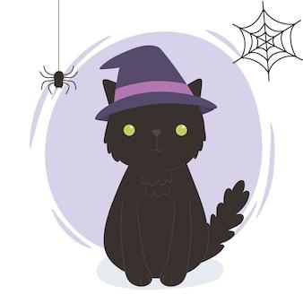 Feliz dia das bruxas, gato preto com teia de aranha de chapéu, celebração de festa de doces ou travessuras