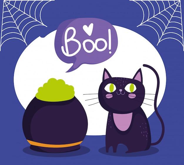Feliz dia das bruxas, gato preto e poção do caldeirão, feitiço de doce ou travessura, ilustração de celebração de festa