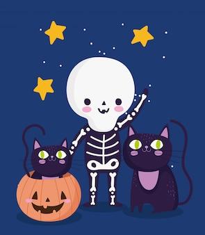 Feliz dia das bruxas, gatos pretos com fantasia de esqueleto e doce ou travessura de abóbora ilustração de celebração de festa
