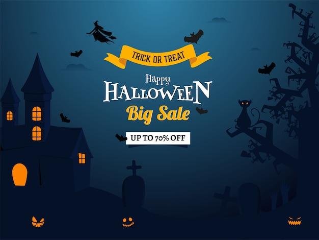 Feliz dia das bruxas grande venda design de cartaz com oferta de desconto de 70%