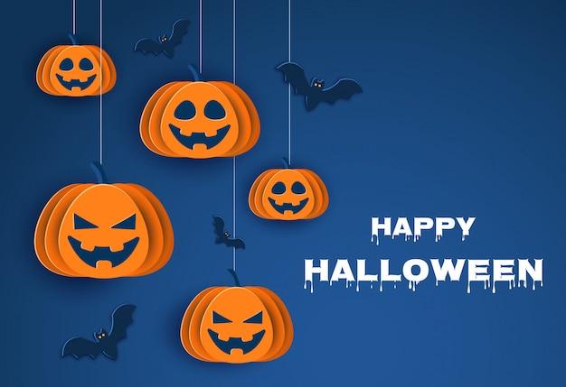 Feliz dia das bruxas halloween clássico fundo azul com abóboras e morcegos