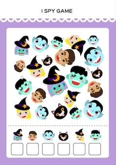 Feliz dia das bruxas i spy jogo de matemática para crianças com monstros prática matemática educação gam