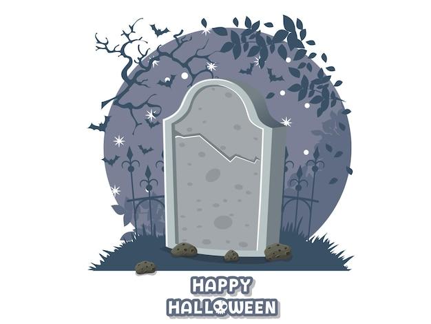 Feliz dia das bruxas. ícone com a imagem de lápides. símbolo do cemitério de lápide. cartão de felicitações, convite para festa. ilustração em vetor cor de fundo