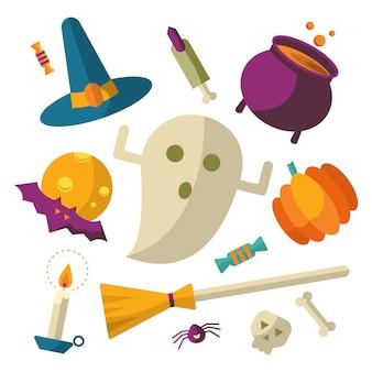Feliz, dia das bruxas, ícones, jogo