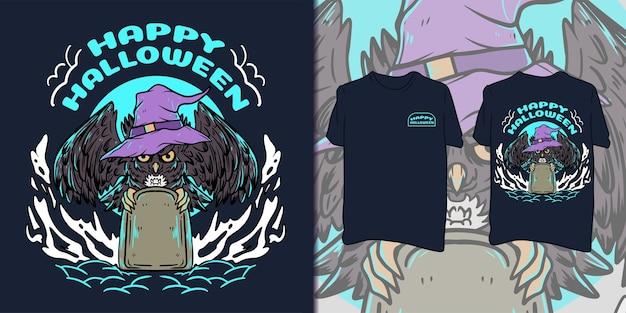 Feliz dia das bruxas. ilustração de coruja para camiseta