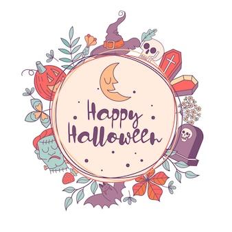Feliz dia das bruxas. ilustração vetorial. o convite para a festa. uma coroa de folhas de outono, lápides, cabeça de frankenstein, abóboras assustadoras, fantasma, crânio e chapéu.