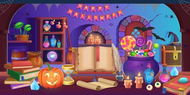 Feliz dia das bruxas interior da sala de halloween com porta, caldeirão, abóboras, chapéu, bala, bola mágica
