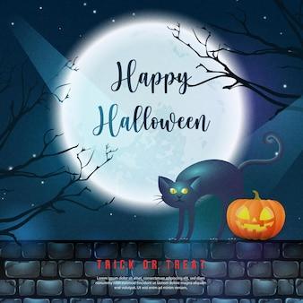 Feliz dia das bruxas, lanterna 3d assustadora realista e gato preto na parede de tijolos com fundo de lua cheia à noite