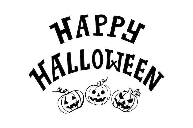 Feliz dia das bruxas letras de mão com desenhos de abóboras fofas