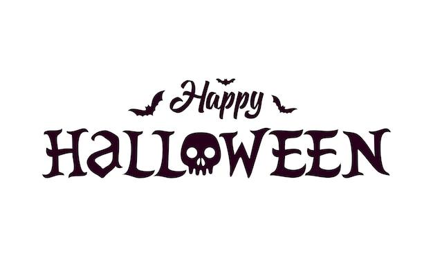 Feliz dia das bruxas lettering texto banne