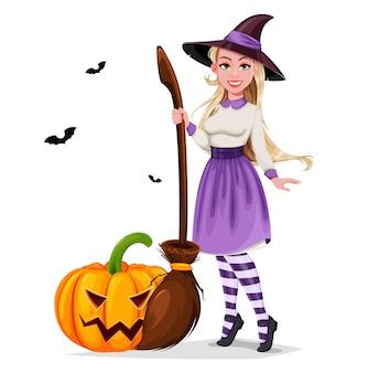 Feliz dia das bruxas. linda bruxa personagem de desenho animado