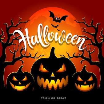 Feliz dia das bruxas, lua cheia, árvore de morcego com três abóboras em ilustração vetorial de fundo laranja