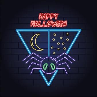 Feliz dia das bruxas luz de néon de aranha pendurada desenho de ilustração vetorial