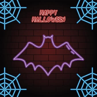 Feliz dia das bruxas luz de néon do desenho de ilustração vetorial de morcego