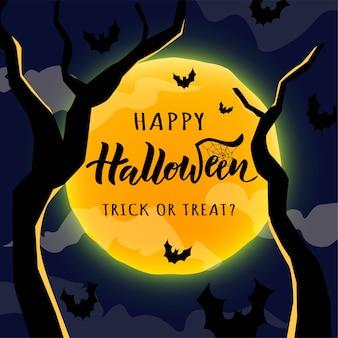 Feliz dia das bruxas mão lettering texto com noite lua, nuvens e morcegos.