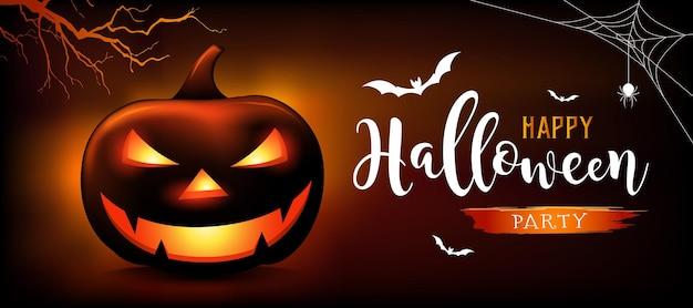 Feliz dia das bruxas mensagem abóboras fantasma morcego em fundo laranja e preto