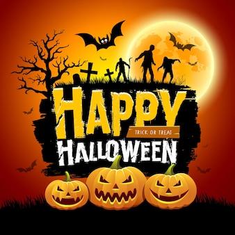 Feliz dia das bruxas mensagem design com abóboras morcego zumbis árvore e lua cheia
