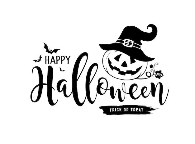 Feliz dia das bruxas mensagem vetor abóbora e chapéu com desenho de morcego isolado no fundo branco