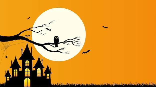 Feliz dia das bruxas modelo de fundo laranja com a teia de aranha de morcego coruja do castelo e lua cheia