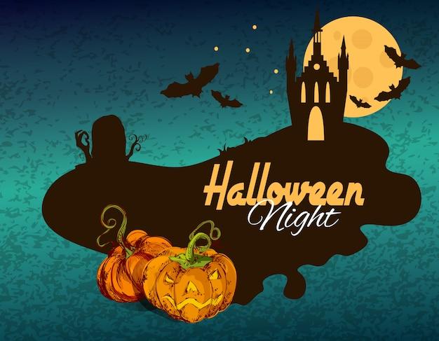 Feliz dia das bruxas noite colorida ilustração