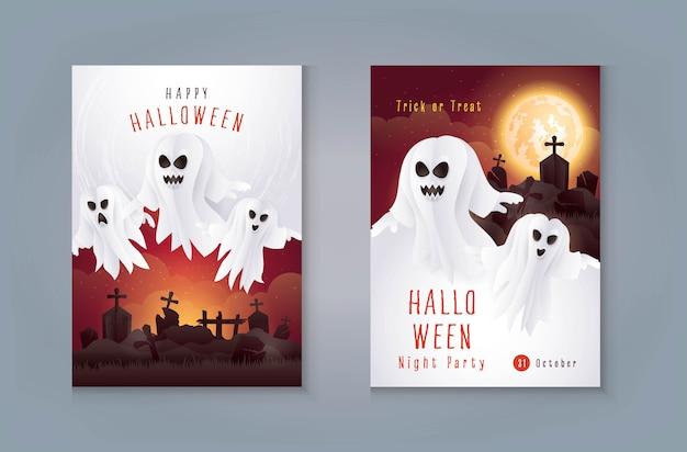 Feliz dia das bruxas noite festa cartão postal, fantasma com cemitério e lua. assustador com gravidade.