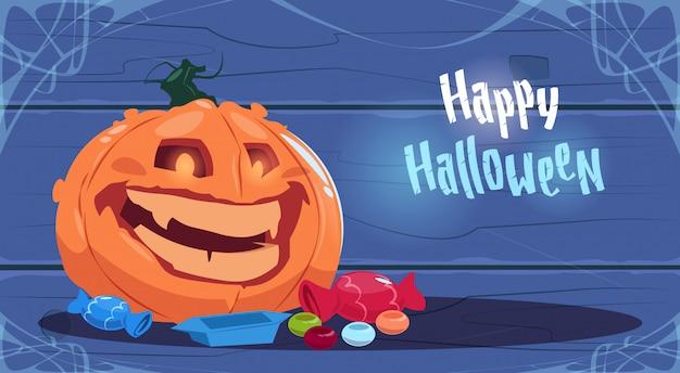 Feliz dia das bruxas partido bandeira grande abóbora decoração tradicional cartão de saudação