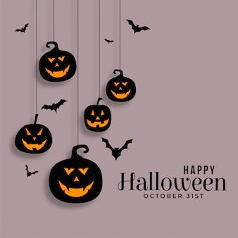 Feliz dia das bruxas pendurado ilustração de abóboras e morcegos