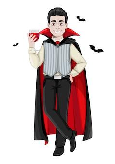 Feliz dia das bruxas. personagem de desenho animado de vampiro alegre