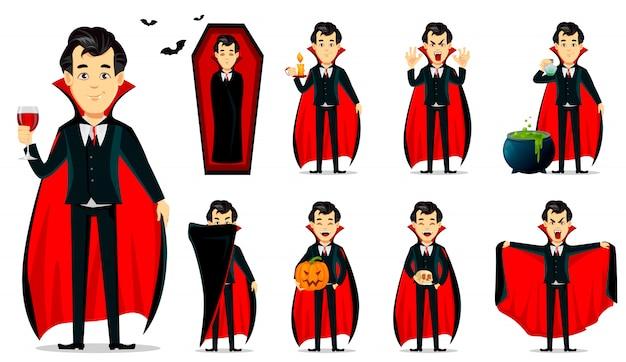 Feliz dia das bruxas. personagem de desenho animado de vampiro