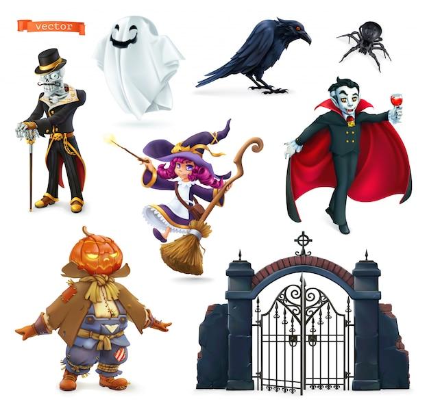 Feliz dia das bruxas. personagens e objetos de desenhos animados, conjunto de vetores