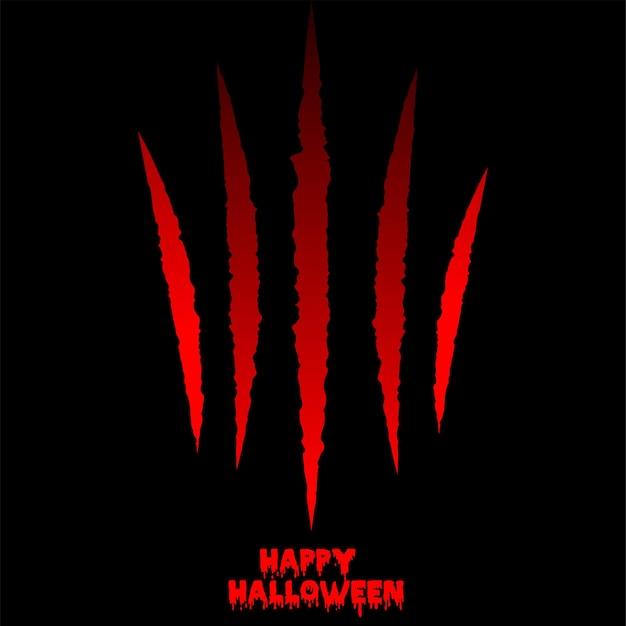 Feliz dia das bruxas plano de fundo com garra vermelha scrach. vetor