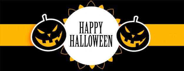 Feliz dia das bruxas preto e amarelo banner com rindo abóboras