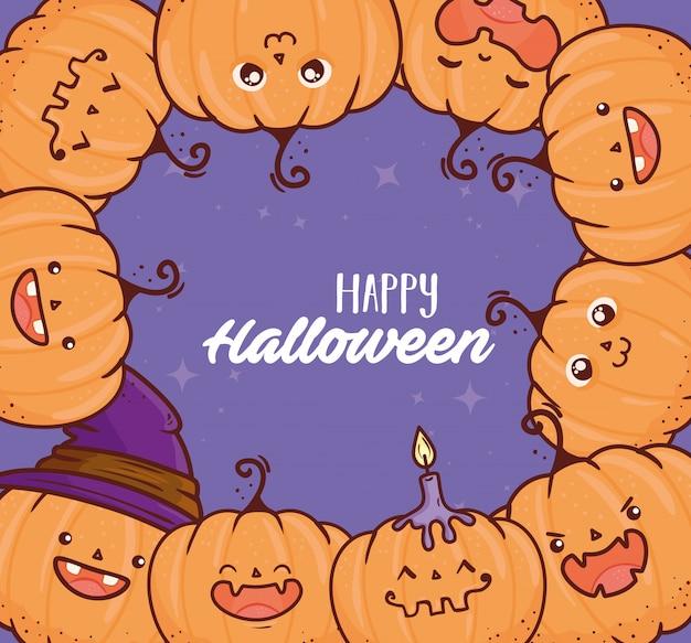 Feliz dia das bruxas, quadro de abóboras fofas com vela e desenho de ilustração vetorial de bruxa de chapéu