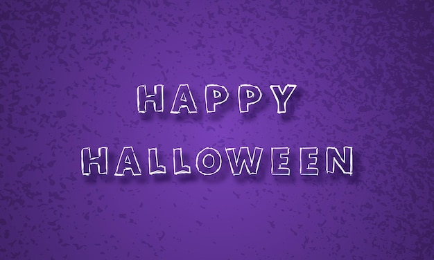 Feliz dia das bruxas roxo festivo fundo com inscrição de mão desenhada feliz dia das bruxas com sombra. ilustração vetorial.