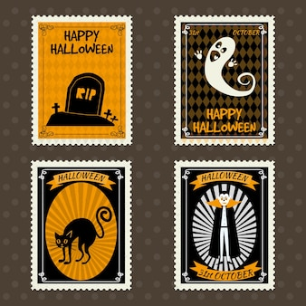Feliz dia das bruxas selos postais com fantasma vampiro gato preto cemitério de sepultura halloween
