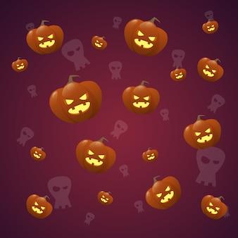 Feliz dia das bruxas sem costura padrão com decoração de abóbora e fantasma