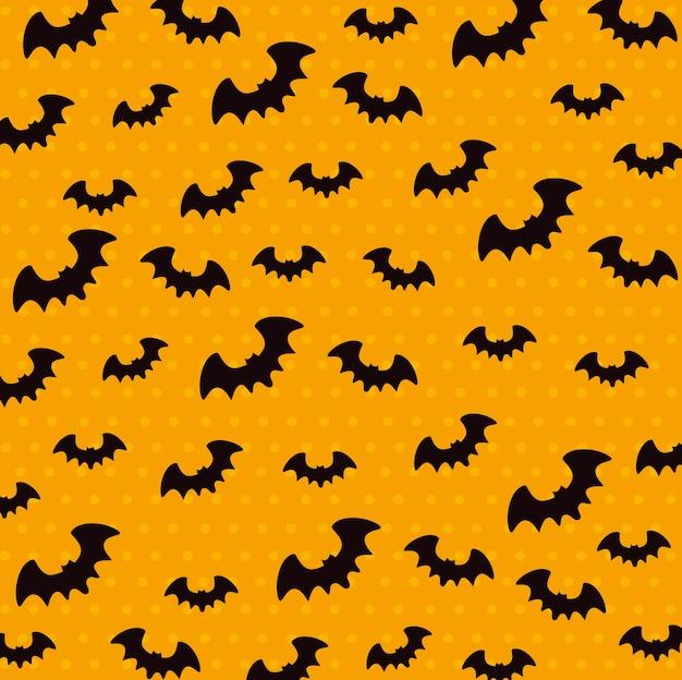 Feliz dia das bruxas sem costura padrão com morcegos voando