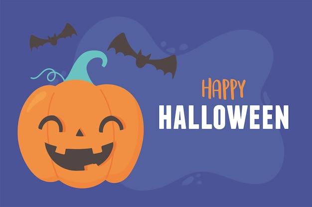 Feliz dia das bruxas sorrindo ilustração de cartões de abóbora e morcegos