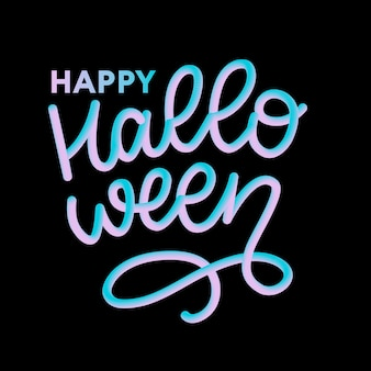 Feliz dia das bruxas texto banner, letras caligrafia 3d