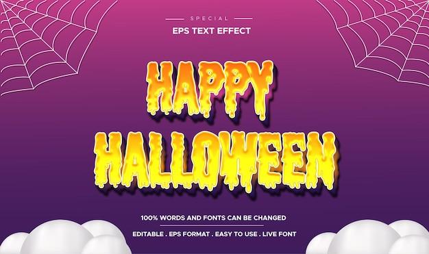 Feliz dia das bruxas, texto editável em 3d estilo efeito de texto de desenho animado