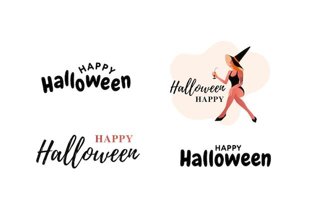 Feliz dia das bruxas tipo definido. festa de halloween. fantasia de mulher bruxa