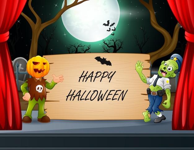 Feliz dia das bruxas, um zumbi e uma máscara de abóbora ao lado da placa